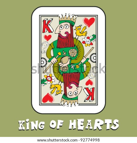 hand drawn deck of cards, doodle king of hearts - stock vector