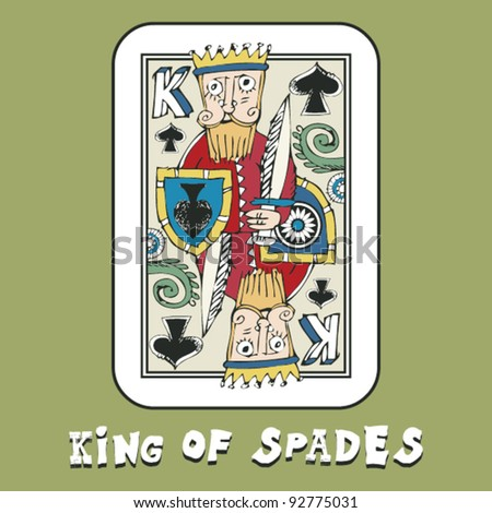 hand drawn deck of cards, doodle king of spades - stock vector