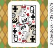 hand drawn deck of cards, doodle queen of clubs - stock photo