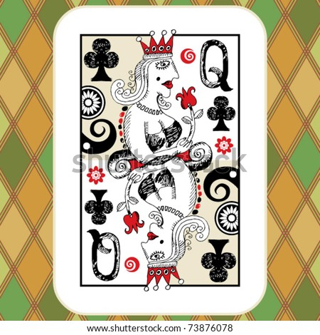 hand drawn deck of cards, doodle queen of clubs - stock vector