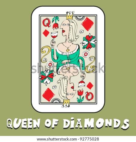hand drawn deck of cards, doodle queen of diamonds - stock vector