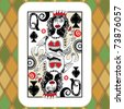 hand drawn deck of cards, doodle queen of spades - stock vector