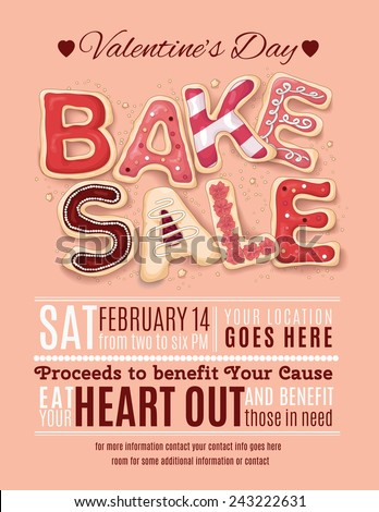 Hand drawn decorated cookies that say Bake Sale for a Valentine's Day promotion on a flyer, brochure, poster template layout. - stock vector