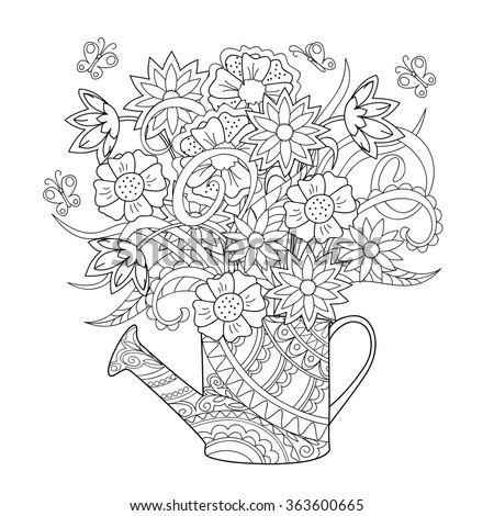 Hand drawn decorated image watering can with flower and herb.   Image for adult or children coloring  page, tatoo. Vector illustration - eps 10. - stock vector