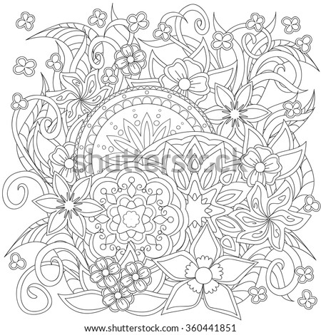 Hand drawn decorated image with doodle flowers and mandalas. Image for adults coloring page. Vector illustration - eps 10. - stock vector