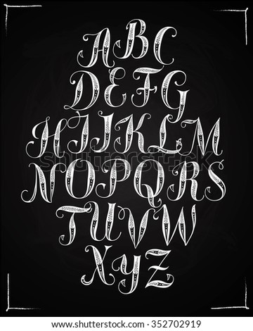 Hand drawn decorative calligraphy vector ABC letters with floral ornament. Beautiful font on blackboard background for your design. - stock vector