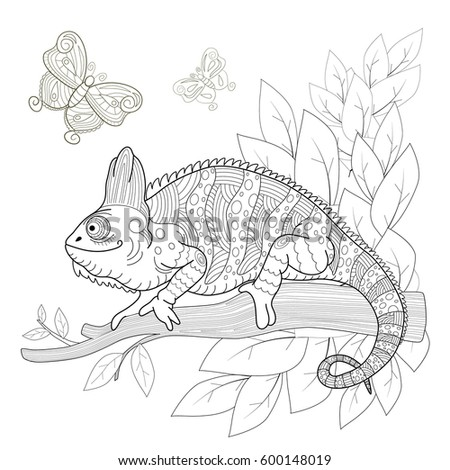 Hand Drawn Decorative Chameleon Is Sitting On A Tree Branch Near The Butterflies Fly
