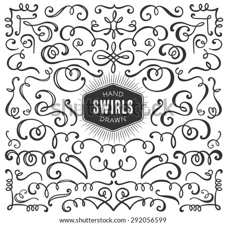 Hand drawn decorative curls and swirls collection. Vintage vector design elements. Ink illustration. - stock vector