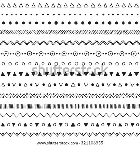 Hand drawn decorative elements seamless on white background  - stock vector