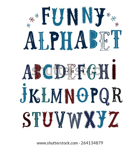 Hand drawn decorative funny vector ABC letters. Nice font for your design. - stock vector