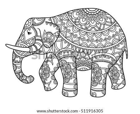 Bohemian Elephant Coloring Coloring Pages