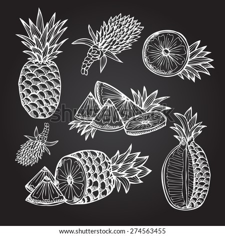 Hand drawn decorative pineapples, design elements. Can be used for cards, invitations, gift wrap, print, scrapbooking. Kitchen theme. Chalkboard background - stock vector
