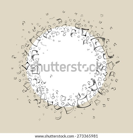 hand drawn decorative round frame of confetti