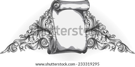Hand drawn decorative scroll - stock vector