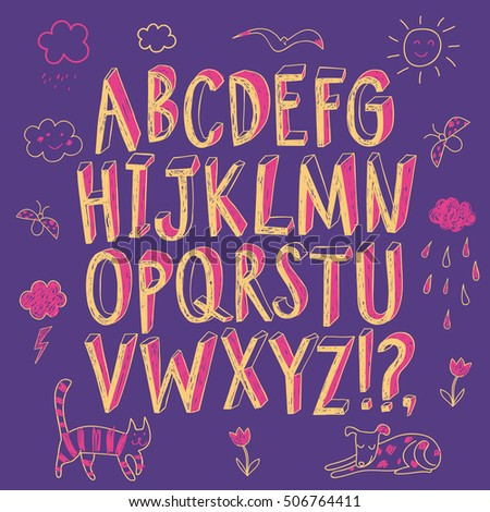 Hand Drawn Decorative Sketchy Vector ABC Letters And Doodle Drawings Felt Tip Style