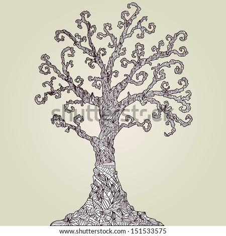 hand drawn decorative tree, symbol of nature - stock vector