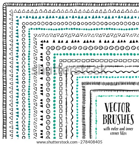 Hand drawn decorative vector brushes with inner and outer corner tiles. Dividers, borders, ornaments. Ink illustration.  - stock vector