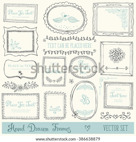 Hand drawn decorative vector frames and design elements. Set of doodle dividers, borders and flowers. Ink illustration. - stock vector