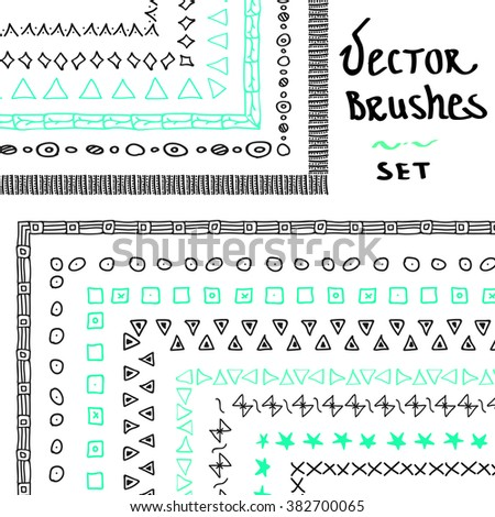 Hand drawn decorative vector pattern brushes with inner and outer corner. Dividers, borders, ornaments. Vector illustration for your design