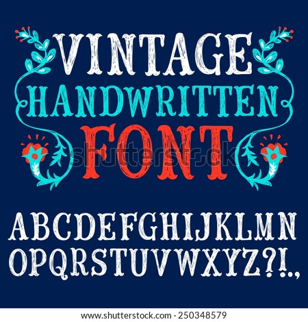 Hand drawn decorative vintage textured vector ABC letters on blue background.Nice font for your design.  - stock vector