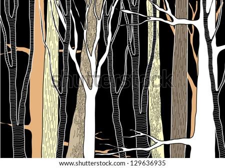 Hand Drawn Deep Forest - vector illustration - stock vector