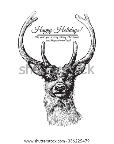 Hand drawn deer head on white background with Christmas lettering. - stock vector