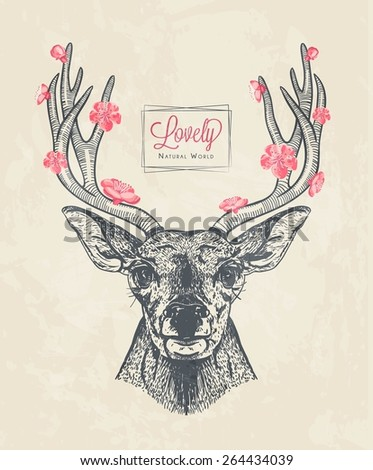 hand drawn deer head with flowers, vector illustration - stock vector