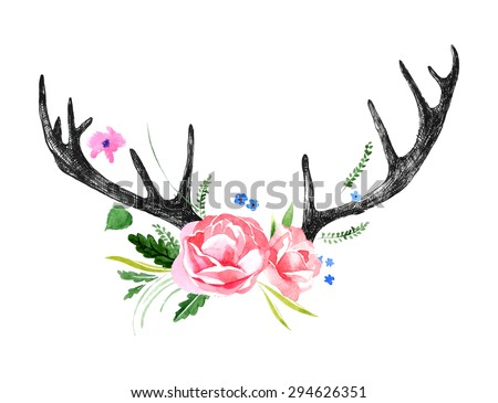 hand drawn deer horns with watercolor flowers - stock vector