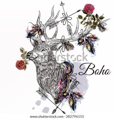 Hand drawn deer with feathers and arrows holding rose flower bo-ho tribal style - stock vector