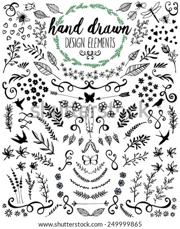 Hand drawn design elements - stock vector