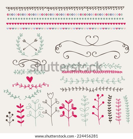 Hand drawn design elements and borders - stock vector