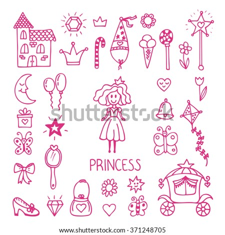 Hand drawn design elements of little princess. Sketchy fairy tale princess. Vector illustration - stock vector
