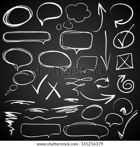 Hand-drawn design elements on blackboard - stock vector