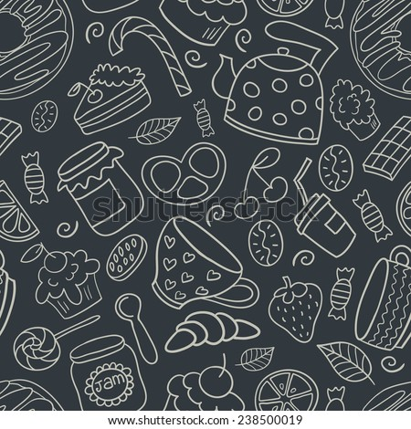 Hand drawn dessert seamless pattern. Can be used for menu, background and other design. - stock vector