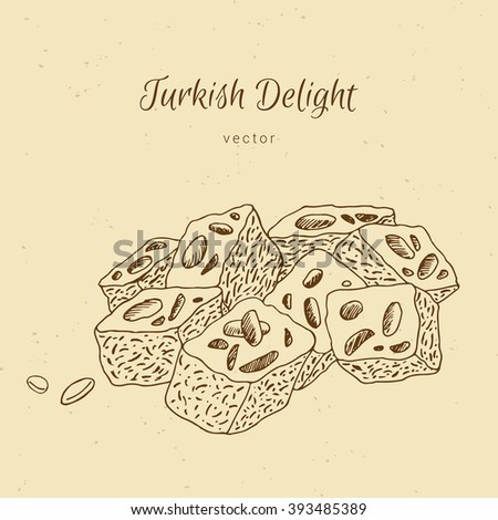Hand drawn dessert Turkish Delicious - stock vector