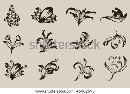 Hand drawn detailed floral ornament collection - stock vector