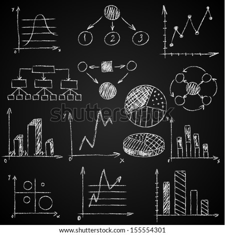 Hand-drawn diagrams on blackboard background - stock vector