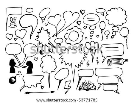 hand drawn dialogue set - stock vector