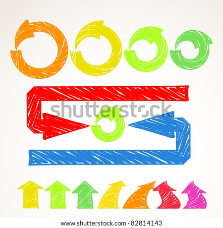 Hand-drawn different arrows collection - stock vector