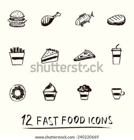 Hand-drawn 12 different fast food icons.  Menu theme.