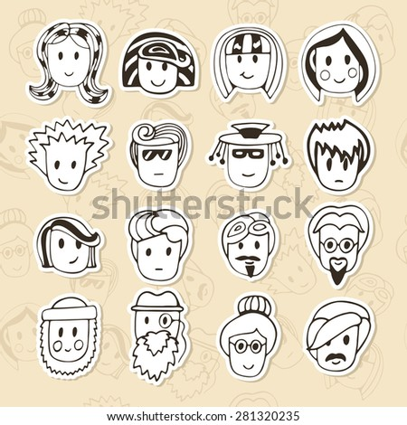 Hand drawn different funny faces. Doodle vector avatars set. Vector illustration