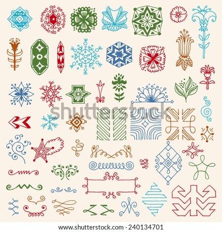 Hand drawn dingbats design elements color set. Vector illustration. - stock vector