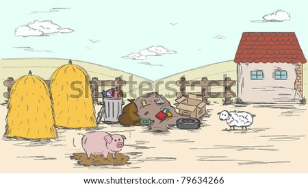 hand drawn dirty farmyard - stock vector