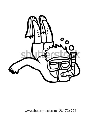 hand drawn diver - stock vector