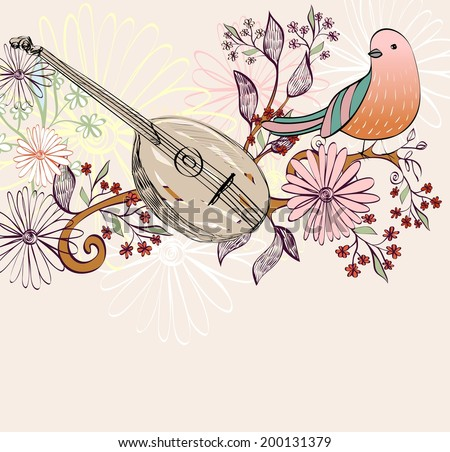 Hand drawn domra on a floral background. - stock vector