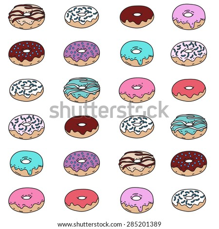 Hand drawn donut vector seamless pattern