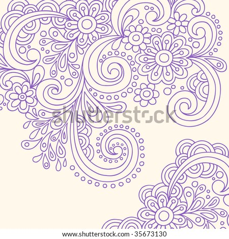 Hand-Drawn Doodle Abstract Henna Paisley Vector - stock vector