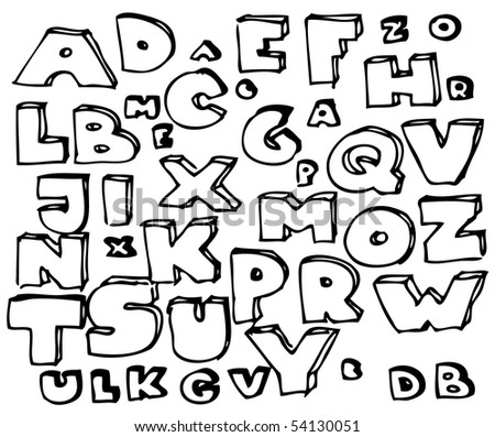 Hand drawn doodle alphabet - stock vector