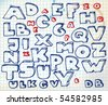 Hand drawn doodle alphabet on squared paper - stock vector