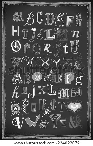 hand-drawn doodle alphabets on chalkboard - stock vector
